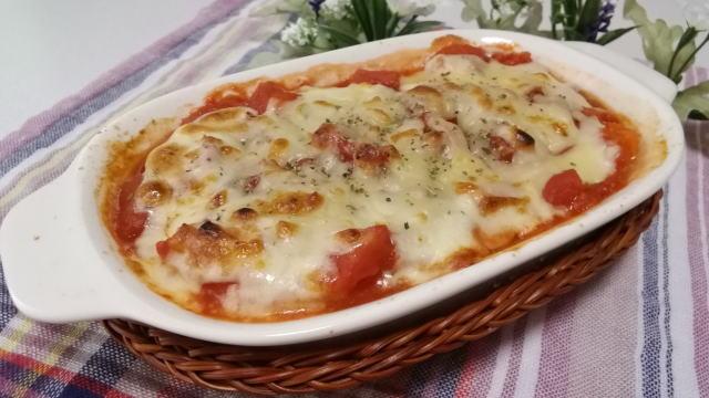 ハンバーグのトマトチーズ焼き